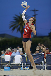 April 6, 2018 - Tucson, AZ, U.S. - TUCSON, AZ - APRIL 06: Arizona Wildcats blocker Hailey Devlin (51) serves the ball during a college beach volleyball match between the Arizona State Sun Devils and the Arizona Wildcats on April 06, 2018, at Bear Down Beach in Tucson, AZ. Arizona defeated Arizona State 4-1. (Photo by Jacob Snow/Icon Sportswire (Credit Image: © Jacob Snow/Icon SMI via ZUMA Press)
