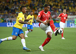 ROSTOV-ON-DON, June 17, 2018  Manuel Akanji (R front) of Switzerland controls the ball during a group E match between Brazil and Switzerland at the 2018 FIFA World Cup in Rostov-on-Don, Russia, June 17, 2018. (Credit Image: © Li Ming/Xinhua via ZUMA Wire)