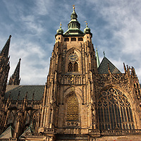 Front view of St. Vitus Cathedral, the largest and most important church of the Czech Republic.