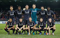 LIVERPOOL, ENGLAND - Thursday, December 10, 2015: Liverpool's players line up for a team group photograph before the UEFA Europa League Group Stage Group B match against FC Sion at Stade de Tourbillon. (Pic by David Rawcliffe/Propaganda)