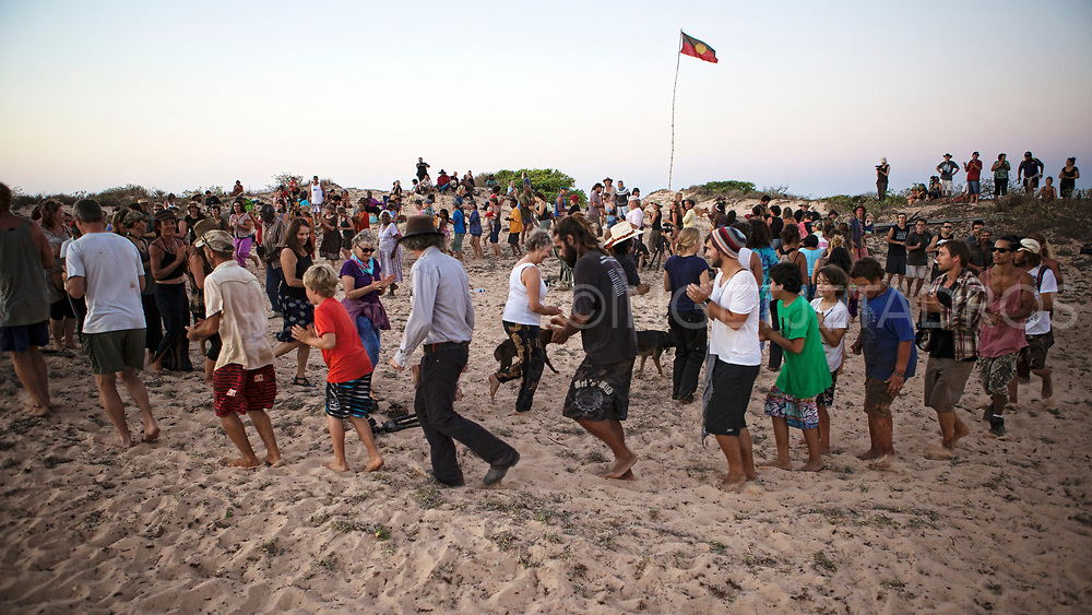 "On the twelfth of October 2013, the night of the ""blue moon"", a very special event took place at James Price Point at Walmadan, where families and traditional owners celebrated country. This is the site of a proposed LNG hub on the pristine coast line of the remote Kimberley region of Western Australia. Broome, WA"