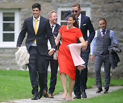 England cricket player Alastair Cook (front left) with his wife Alice, and Paul Collingwood (rear, left) and Stuart Broad (rear, right) arrive at St Mary the Virgin, East Brent, Somerset, for the wedding of Ben Stokes and his fiancee Clare Ratcliffe.