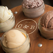 One of the favorite dishes at Crank & Boom Ice Cream Lounge is a is a Sampler Flight of four flavors, pictured in Lexington, Ky., Sunday, December 13, 2015. Clockwise from top are Kentucky Blackberry and Buttermilk, Dark Chocolate Truffle, Salted Caramel, and Candy Crunch. Crank & Boom is located in the James Pepper Distillery District. (Photo by David Stephenson)