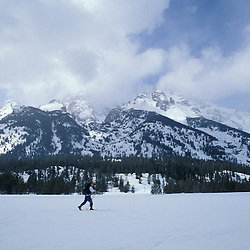 Grand Teton N.P., WY.Cross-country skiing near Jenny Lake.