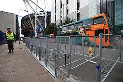 Extra security measures are constructed outside the ground prior to a press conference held at the National Stadium in Wales ahead of tomorrow's UEFA Champions League Final against Real Madrid