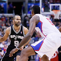 16 December 2013: San Antonio Spurs point guard Tony Parker (9) drives past Los Angeles Clippers point guard Chris Paul (3) during the Los Angeles Clippers 115-92 victory over the San Antonio Spurs at the Staples Center, Los Angeles, California, USA.