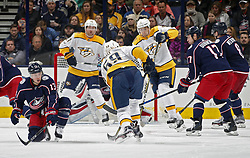 November 7, 2017 - Columbus, OH, USA - The Columbus Blue Jackets' Cam Atkinson (13) tries to block the shot of Nashville Predators defenseman Roman Josi (59) during the third period at Nationwide Arena in Columbus, Ohio, on Tuesday, Nov. 7, 2017. The Predators won, 3-1. (Credit Image: © Kyle Robertson/TNS via ZUMA Wire)