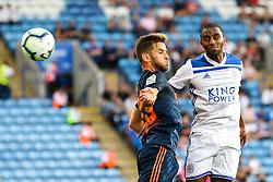 Ricardo Pereira of Leicester City beats Alvaro Medran of Valencia to a header - Mandatory by-line: Robbie Stephenson/JMP - 01/08/2018 - FOOTBALL - King Power Stadium - Leicester, England - Leicester City v Valencia - Pre-season friendly