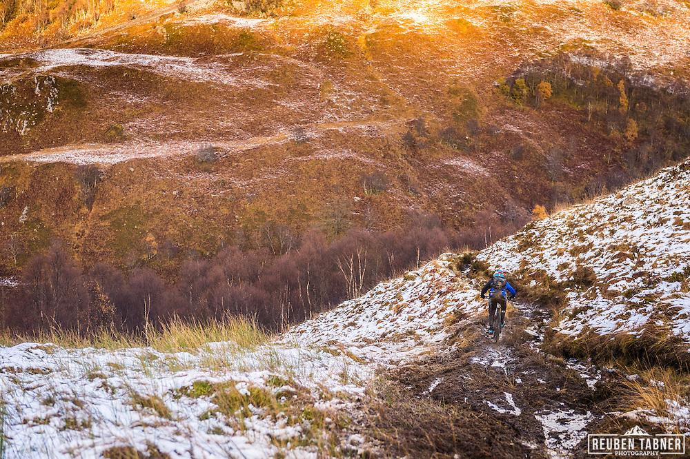 A rider descends stage one of the Kinlochleven Enduro.