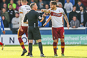 Bradford City midfielder Romain Vincelot gestures to the referee during the EFL Sky Bet League 1 match between Peterborough United and Bradford City at London Road, Peterborough, England on 9 September 2017. Photo by Aaron  Lupton.