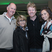 February 28, 2014, Palm Springs, California: <br /> Tournament director Steve Simon (left) and Jim Courier (second from right) pose for a photograph during the McEnroe Challenge for Charity VIP Draw Ceremony in the newly constructed Stadium 2 at the Indian Wells Tennis Garden. <br /> (Photo by Billie Weiss/BNP Paribas Open)