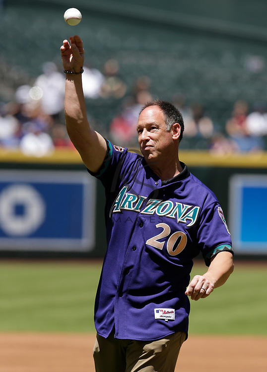 Arizona Diamondbacks legend Luis Gonzalez before a baseball game against the Los Angeles Dodgers, Thursday, May 3, 2018, in Phoenix. The Dodgers defeated the Diamondbacks 5-2. (AP Photo/Rick Scuteri)