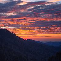 Beautiful sunset from Morton Overlook, Great Smoky Mountain National Park