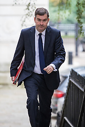 © Licensed to London News Pictures. 25/10/2016. London, UK. Chief Secretary to the Treasury David Gauke arrives at Downing Street to attend the government sub-committee on airports, which is expected to rule today on the expansion of either Gatwick of Heathrow airport. Photo credit: Rob Pinney/LNP