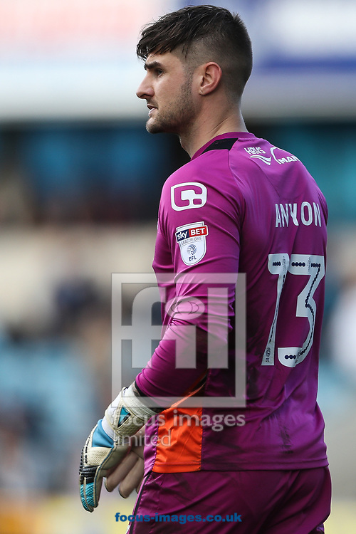 Goalkeeper, Joe Anyon of Scunthorpe United during the Sky Bet League 1 match at The Den, London<br /> Picture by Toyin Oshodi/Focus Images Ltd 07984788195<br /> 01/04/2017