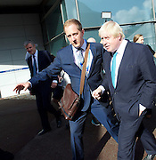 Conservative Party Conference <br /> Manchester, Great Britain <br /> Day 3<br /> 6th October 2015 <br /> <br /> Boris Johnson with his press agent Zac Goldsmith looks on bemused <br /> <br /> <br /> Photograph by Elliott Franks <br /> Image licensed to Elliott Franks Photography Services