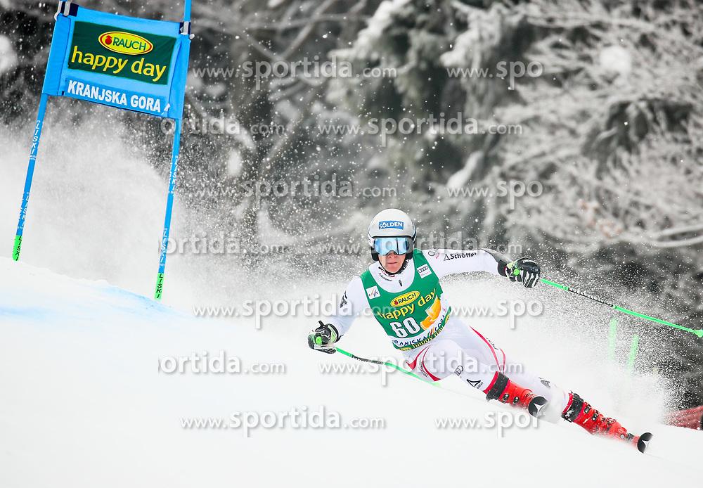 Fabio Gstrein of Austria competes during 1st run of Men's GiantSlalom race of FIS Alpine Ski World Cup 57th Vitranc Cup 2018, on March 3, 2018 in Kranjska Gora, Slovenia. Photo by Ziga Zupan / Sportida