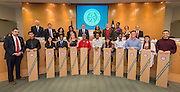 Staff and students from the High School for Performing and Visual Arts present ceremonial shovels to members of the Houston ISD Board of Trustees during a meeting, January 15, 2015.