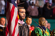 Ohio University student Dan Drumm sings the National Anthem at the start of the Commencement Ceremony Friday May 2, 2014 .  Photo by Ohio University / Jonathan Adams