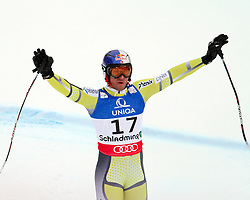 AUT, FIS Weltmeisterschaften Ski Alpin, Schladming 2013.09.02.2013, Planai, Schladming, AUT, FIS Weltmeisterschaften Ski Alpin, Abfahrt, Herren, im Bild Aksel Lund Svindal (NOR), 1. Platz // Aksel Lund Svindal of Norway, 1st place, reacts after his run of mens Downhill during FIS Ski World Championships 2013 at the Planai Course, Schladming, Austria on 2013/02/09. EXPA Pictures © 2013, PhotoCredit: EXPA/ Martin Huber