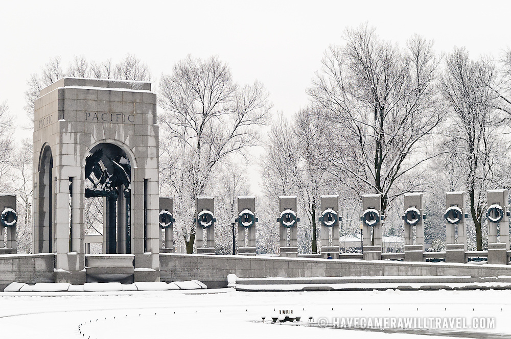 Part of the National World War Two Material on the National Mall in Washington DC is covered by snow after a recent snow storm blanketed the area with more than a foot of snow.