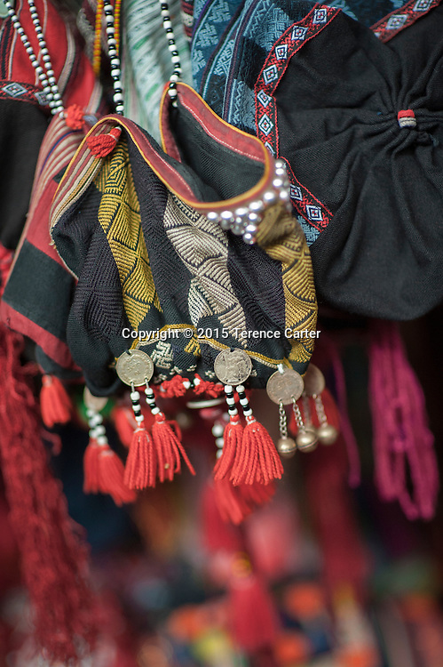 Hilltribe headdresses  for sale in the markets in Sapa, Vietnam.