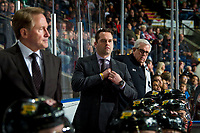 KELOWNA, BC - MARCH 02:   Portland Winterhawks' association coach Kyle Gustafson stands on the bench with equipment manager Mark Brennan against the Kelowna Rockets at Prospera Place on March 2, 2019 in Kelowna, Canada. (Photo by Marissa Baecker/Getty Images)