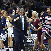 STORRS, CONNECTICUT- NOVEMBER 17: UConn Head coach Geno Auriemma and the UConn bench react to a three pointer from Crystal Dangerfield #5 of the UConn Huskies during the UConn Huskies Vs Baylor Bears NCAA Women's Basketball game at Gampel Pavilion, on November 17th, 2016 in Storrs, Connecticut. (Photo by Tim Clayton/Corbis via Getty Images)