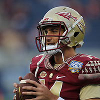 Florida State Seminoles quarterback Jake Rizzo (14) is seen during an NCAA football game between the Ole Miss Rebels and the Florida State Seminoles at Camping World Stadium on September 5, 2016 in Orlando, Florida. (Alex Menendez via AP)