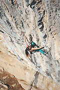 Rab climbing athletes Jacob Cook and Bronwyn Hodgins enjoying a climbing trip at Oliana, Spain
