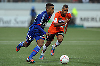 FOOTBALL - FRENCH CHAMPIONSHIP 2012/2013 - L1 - FC LORIENT v OLYMPIQUE LYONNAIS  - 7/10/2012 - PHOTO PASCAL ALLEE / DPPI - ALEXANDRE LACAZETTE (OL) / JACQUES-ALAISYS ROMAO (FCL)