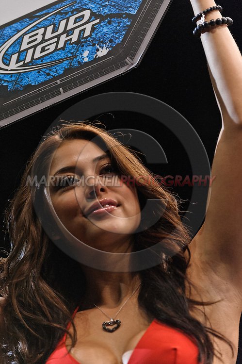 "MANCHESTER, ENGLAND, NOVEMBER 14, 2009: Arianny Celeste walks on the cage apron between rounds at ""UFC 105: Couture vs. Vera"" inside the MEN Arena in Manchester, United Kingdom."