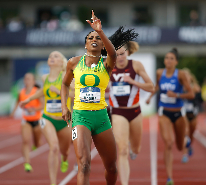 Oregon's Raevyn Rogers celebrates as she crosses the finish line win the women's 800 meters in the time of 2 minutes, 2 seconds seconds on the final day of the NCAA outdoor college track and field championships in Eugene, Ore., Saturday, June 10, 2017. (AP Photo/Timothy J. Gonzalez)