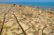 Limestone rock on shore of Georgian Bay. Lake Huron<br /> Craigleith<br /> Ontario<br /> Canada