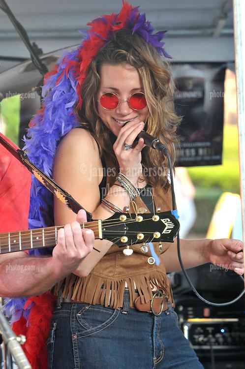 Vanessa Stevens conjuring the spirit Janis Joplin. The Happening perform the Elks Club Octoberfest at the Apple Festival. Southington CT 4 October 2009.