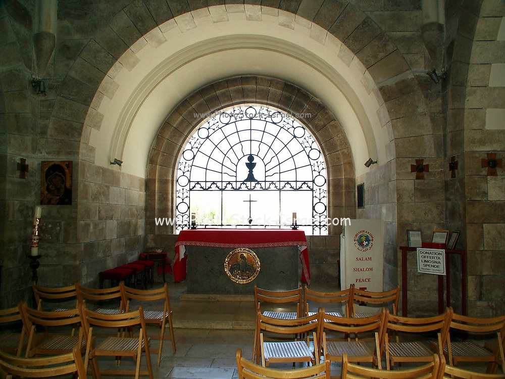 window overlooking the old city, DOMINUS FLEVIT church, on mount olives Jerusalem, Israel.  One of the newest churches in Jerusalem, constructed in 1955. By tradition, the church is located in the spot were Jesus wept on his approach to the holy city. It is shapes as a tear
