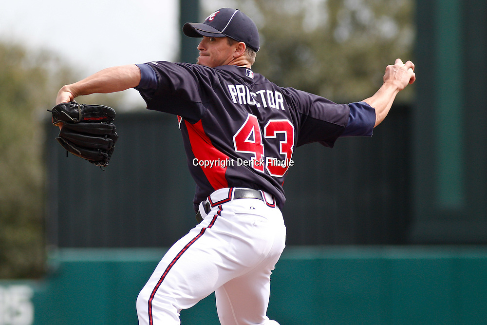 March 5, 2011; Lake Buena Vista, FL, USA; Atlanta Braves relief pitcher Scott Proctor (43) during a spring training exhibition game against the New York Mets at Disney Wide World of Sports complex.  Mandatory Credit: Derick E. Hingle