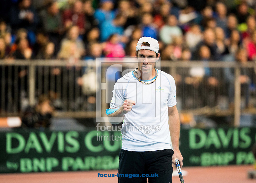 Grega Zemlja of Slovenia during the first round Davis Cup match between Solvenia and Monaco  at Tennis Arena Tabor, Maribor, Slovenia.<br /> Picture by EXPA Pictures/Focus Images Ltd 07814482222<br /> 05/02/2017<br /> *** UK &amp; IRELAND ONLY ***<br /> <br /> EXPA-SLO-170205-0078.jpg