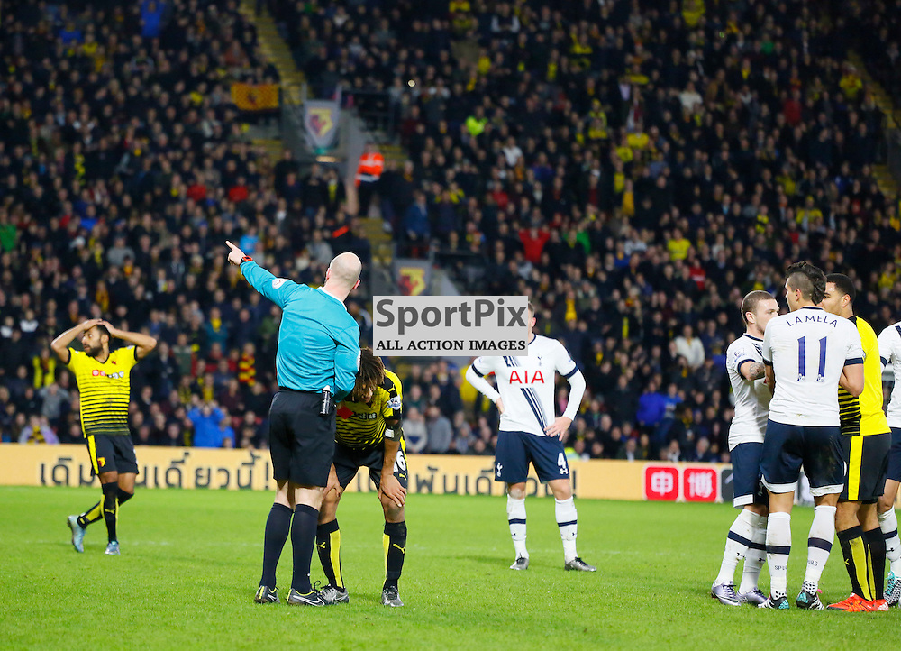 Nathan Ake can't believe he gets sent off during Watford v Tottenham, Barclays Premier League, Monday 28th December 2015, Vicarage Road, Watford