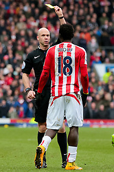 Stoke City's Mame Biram Diouf receives a yellow card  -  Photo mandatory by-line: Matt McNulty/JMP - Mobile: 07966 386802 - 14/02/2015 - SPORT - Football - Blackburn - Ewood Park - Blackburn Rovers v Stoke City - FA Cup - Fifth Round