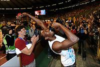 Friidrett<br /> IAAF Diamond League<br /> Brussel 16.09.2011<br /> Foto: PhotoNews/Digitalsport<br /> NORWAY ONLY<br /> <br /> Usain Bolt (JAM) celebrates his victory on the 100m men