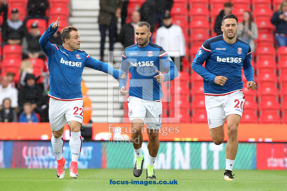 Jese Rodriguez (centre) of Stoke City warms up prior to the Premier League match against Arsenal at the bet365 Stadium, Stoke-on-Trent.<br /> Picture by Michael Sedgwick/Focus Images Ltd +44 7900 363072<br /> 19/08/2017