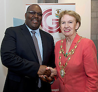 21/05/2013 Repro free.  South African Ambassador Jermaih Ndou and Mayor of Galway City Cllr. Terry O Flaherty at the launch of Africa Day 2013 at Galway City Museum by Galway City Council and Irish Aid. .Africa Day falls on 25th May each year, with events taking place around the country from 20th-27th May.  It is an initiative of the African Union, and aims to celebrate African diversity and success and the cultural and economic potential of the continent.  In Ireland, events to mark Africa Day are supported by Irish Aid, the Government's programme for overseas development and Galway City Council.. .The events planned by Galway City Council will take place on 21st May and from 24th to 26th May.  Galway City Council are launching Africa Day 2013 by Mayor of Galway City Cllr Terry O'Flaherty on Tuesday 21st May @ 11:00 a.m.at the Galway City Museum with inputs from the African Ambassadors Network, Africian Film Festival, NUIG and music by South Africian Choirs. Picture:Andrew Downes