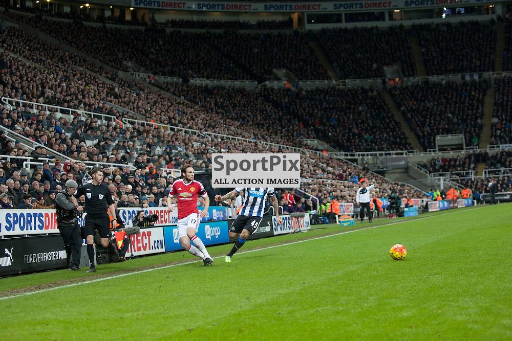 Newcastle v Manchester Utd 12 January 2016<br />Blind and MItrovic<br />(c) Russell G Sneddon / SportPix.org.uk