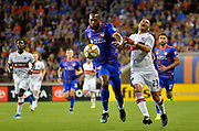 Kendall Waston (2) of FC Cincinnati takes the ball away from Nemanja Nikolic (23) of the Chicago Fire during a MLS soccer game, Saturday, September 21, 2019, in Cincinnati, OH. Chicago tied Cincinnati 0-0. (Jason Whitman/Image of Sport)