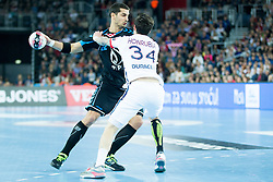 Josip Valcic #22 of PPD Zagreb and Samuel Honrubia #34 of Paris Sant-Germain during handball match between PPD Zagreb (CRO) and Paris Saint-Germain (FRA) in 11th Round of Group Phase of EHF Champions League 2015/16, on February 10, 2016 in Arena Zagreb, Zagreb, Croatia. Photo by Urban Urbanc / Sportida