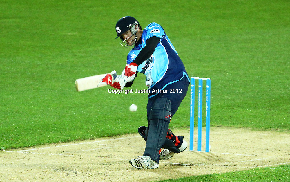 Aces' Lou Vincent plays a shot during the 2012/2013 HRV Cup Twenty20 session. Wellington Firebirds v Auckland Aces at Westpac Stadium, Wellington, New Zealand on Friday 16 November 2012. Photo: Justin Arthur / photosport.co.nz