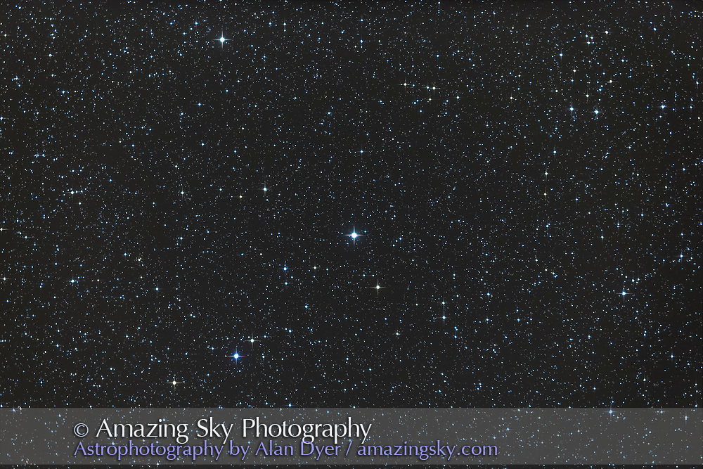 Upsilon Andromedae, in Andromeda, a Sun-like star known to have a solar system of at least 3 planets, and was the first multi-planet system discovered. It has a 12th magnitude red dwarf companion. This is a stack of 4 x 4 minute exposures with the TMB 92mm apo refractor at f/4.4 with the 0.85x Borg field flattener/reducer and Canon 6D at ISO 800.