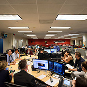 "August 29, 2014 - New York, NY : ABC News Anchor David Muir (second from left at center) takes part in an editorial meeting with producers at the ""World News Tonight with David Muir"" rim  in the ABC News building on West 66th Street on Friday afternoon. David Muir is taking over for Diane Sawyer as anchor of ABC's ""World News Tonight."" CREDIT: Karsten Moran for The New York Times"