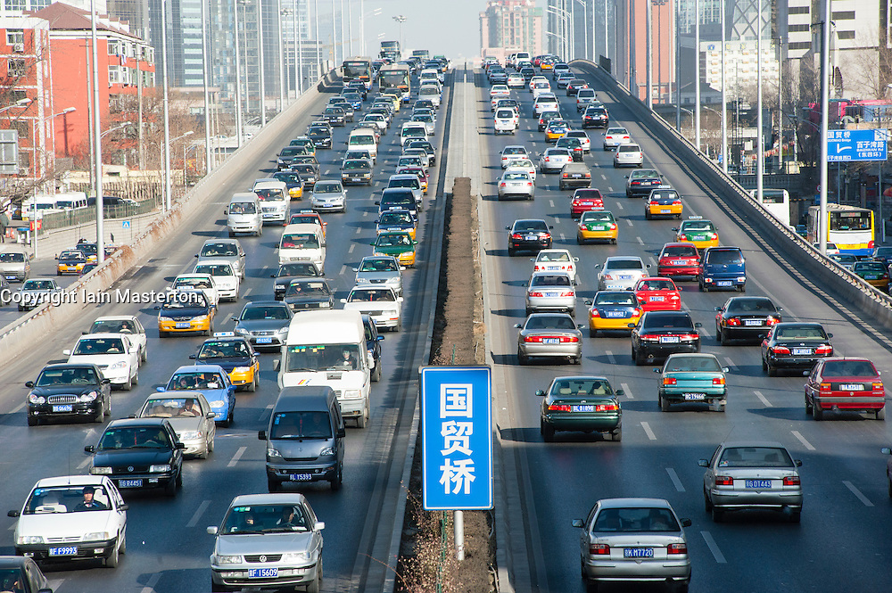 Heavy traffic on urban motorway in central Beijing , China